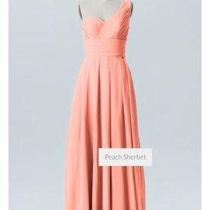 Chiffon bridesmaids or evening dress in Peach.